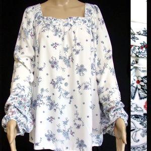 Lauren Conrad Blouse Size XXL White/Blue